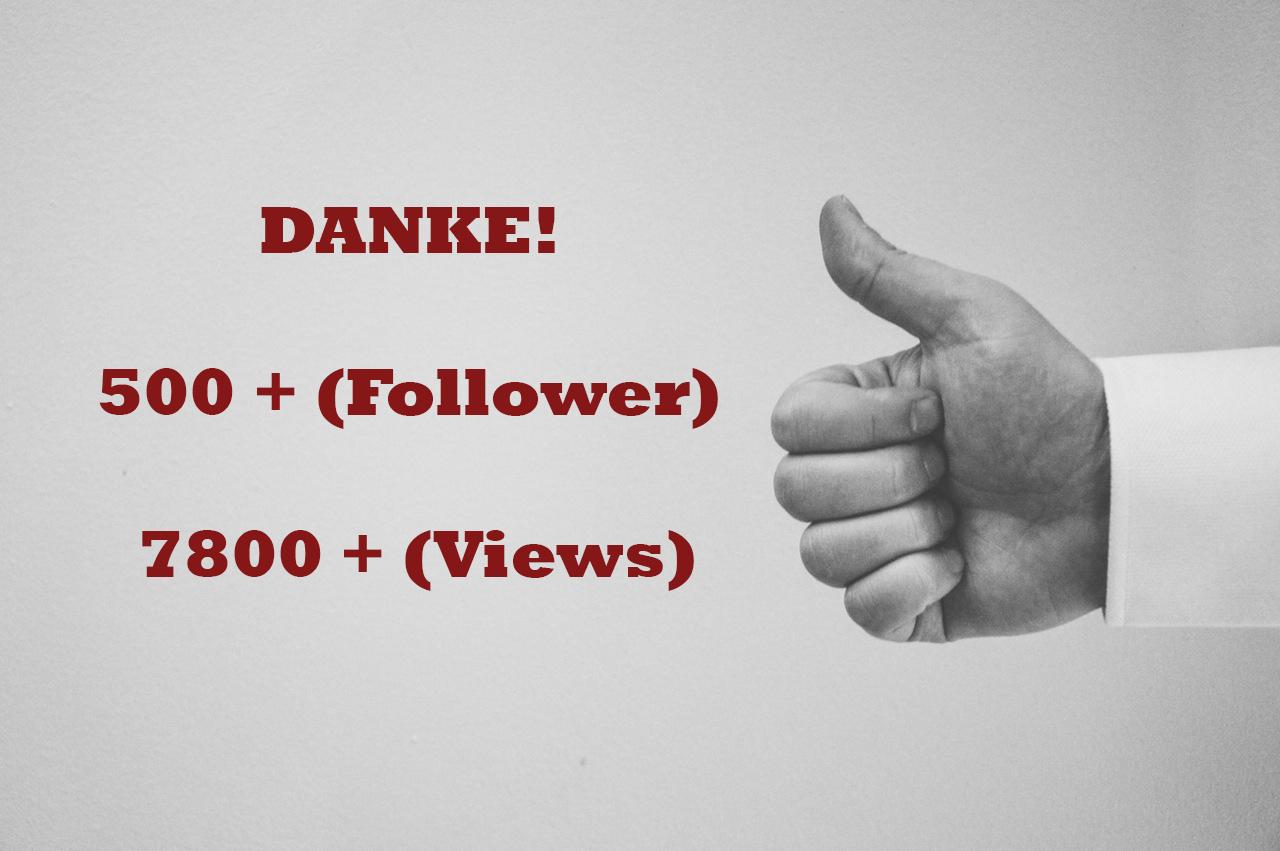 Danke an über 500 Follower!!!