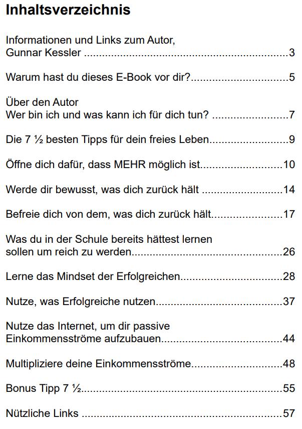 Nie wieder arbeiten E-book - Inhaltsverzeichnis